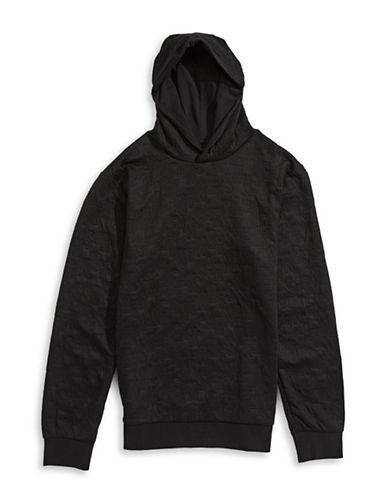 Armani Jeans Logo-Quilted Hoodie-BLACK-Medium 88457876_BLACK_Medium