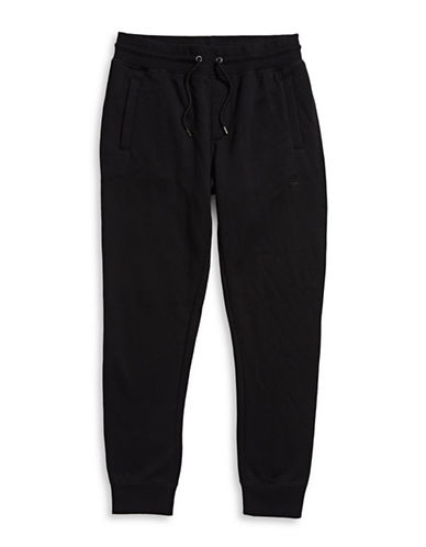 Armani Jeans Fleece Cuffed Sweatpants-BLACK-Medium 88457961_BLACK_Medium