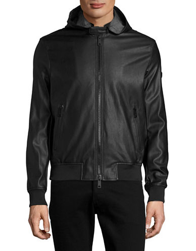 Armani Jeans Faux Leather Hooded Jacket-BLACK-X-Large