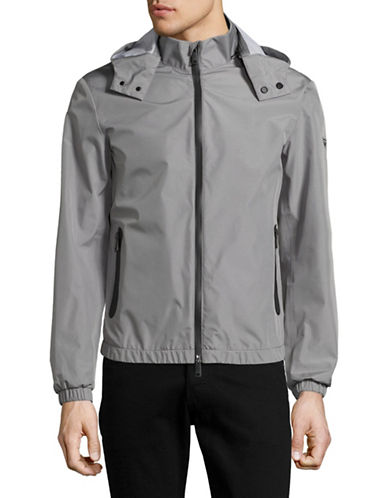 Armani Jeans Welded Seam Hooded Coat-GREY-Large
