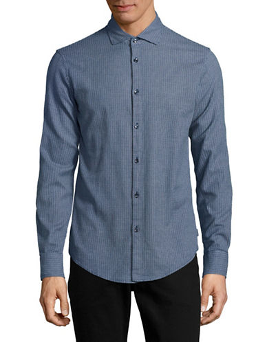 Armani Jeans Yarn-Dyed Woven Sport Shirt-NAVY-Small