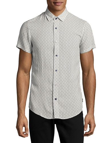 Armani Jeans Short Sleeve Printed Woven Shirt-WHITE-X-Small