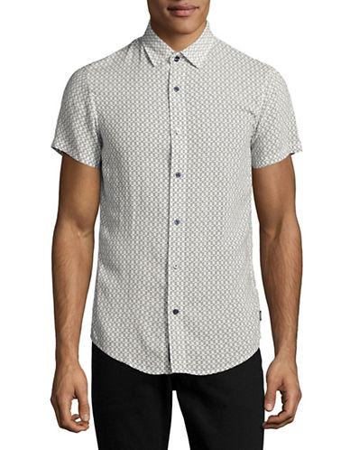 Armani Jeans Short Sleeve Printed Woven Shirt-WHITE-Medium