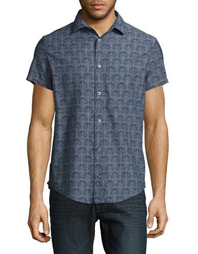 Armani Jeans Short Sleeve Allover Printed Chambray Shirt-MEDIUM BLUE-Medium