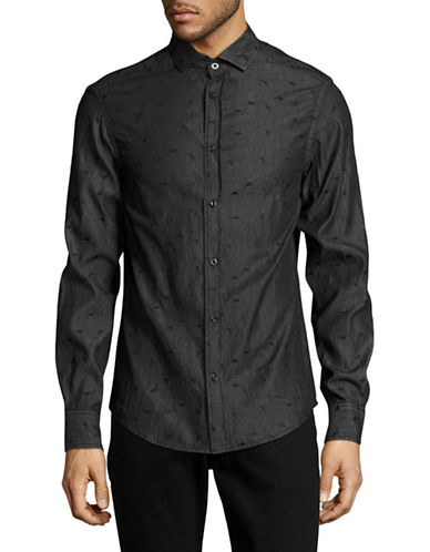 Armani Jeans Boxed Embroidered Denim Shirt-BLACK-Medium