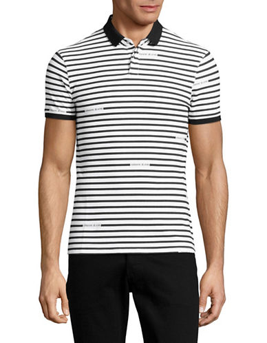 Armani Jeans Striped Logo Polo-BLACK/WHITE-Medium
