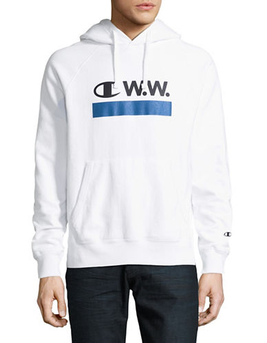 Wood Wood X Champion Logo Hoodie-WHITE-Large 89408615_WHITE_Large