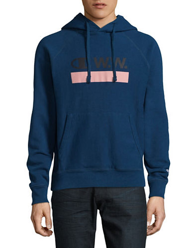 Wood Wood X Champion Logo Hoodie-NAVY-Small