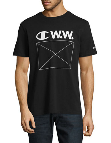 Wood Wood X Champion Wood Wood Logo T-Shirt-BLACK-Medium