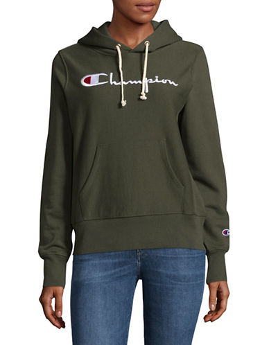 Champion Reverse Weave Hooded Logo Sweatshirt-GREEN-Large