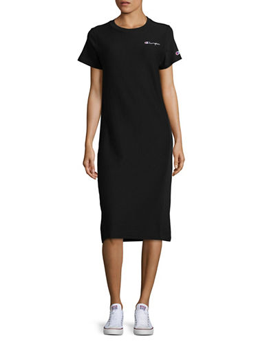 Champion Reverse Weave Cotton T-Shirt Dress-BLACK-Small