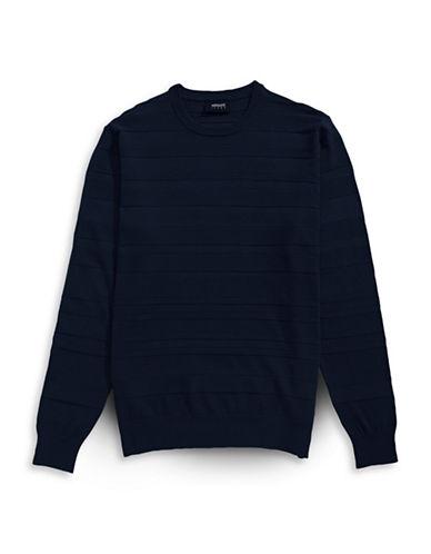 Armani Jeans Textured Stripe Crew Sweater-NAVY-XX-Large