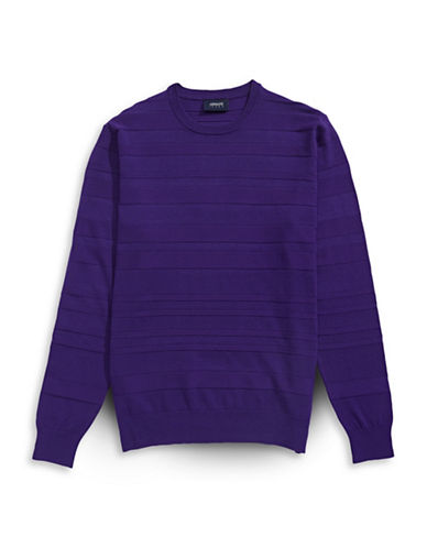 Armani Jeans Textured Stripe Crew Sweater-PURPLE-Large