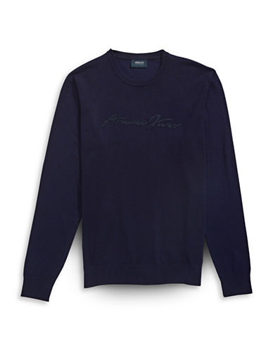 Armani Jeans Script Logo Crew Neck Sweater-NAVY-X-Small