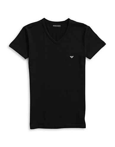 Emporio Armani Underwear Big Eagle Stretch V-Neck Tee-BLACK-Medium