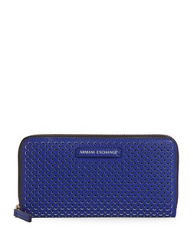 Armani Exchange Laser-Cut Faux-Leather Wallet-BLUE-One Size