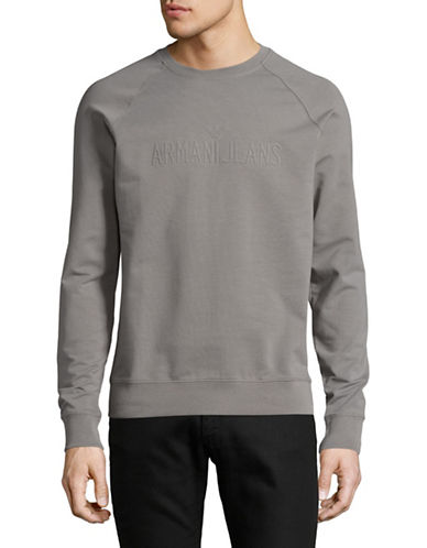 Armani Jeans Stretch Cotton Logo Pullover-GREY-XX-Large