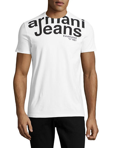 Armani Jeans Crew Neck Logo T-Shirt-WHITE-Medium 88884439_WHITE_Medium