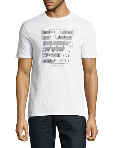 Armani Jeans Destination Logo T-Shirt-WHITE-XX-Large