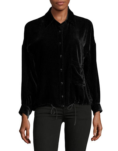 Armani Collezioni Perforated Velvet Shirt-BLACK-EUR 42/US 6