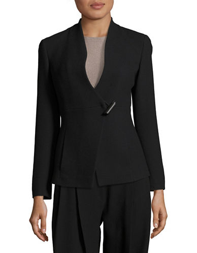 Armani Collezioni Toggle-Front Stretch Wool Jacket-BLACK-EUR 42/US 6