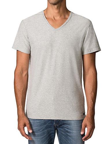 Diesel Slub V-Neck T-Shirt-GREY-Medium 87338650_GREY_Medium
