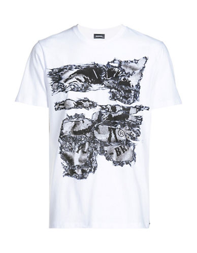 Diesel Joe Abstract and Mohawk Printed Tee-WHITE-Small 89050243_WHITE_Small