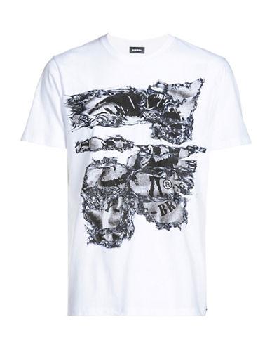 Diesel Joe Abstract and Mohawk Printed Tee-WHITE-Medium 89050244_WHITE_Medium