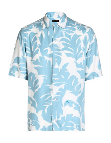 Diesel Westy Palm Printed Shirt-BLUE-Small
