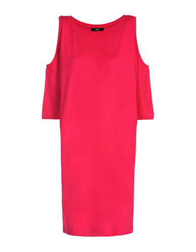 Diesel Cold-Shoulder Crew Neck Sweater Dress-PINK-XX-Small 89040746_PINK_XX-Small