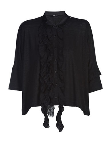Diesel C-Sive Ruffled Lace-Trim Shirt-BLACK-Medium