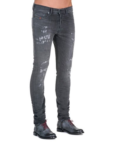 Diesel Tepphar Carrot-Fit Ripped Jeans-BLACK-28X32