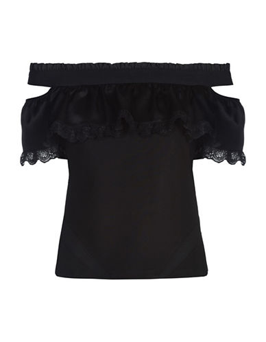 Diesel T-Catrin Ruffled Off-Shoulder Top-BLACK-X-Small