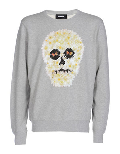 Diesel S-Joe-Qb Floral Sweatshirt-GREY-Small