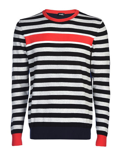 Diesel Sure Striped Cotton Sweater-BLUE-XXLarge