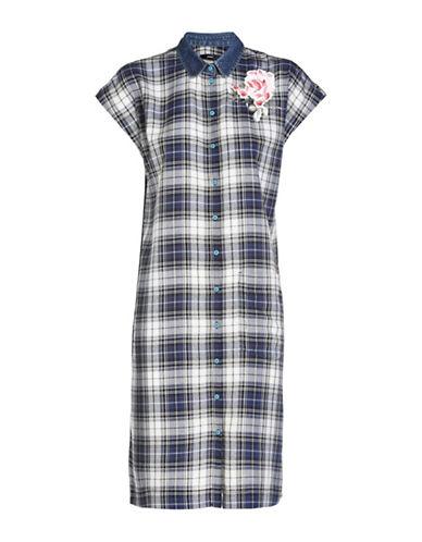 Diesel Lexine Plaid Shirt Dress-BLUE MULTI-Small