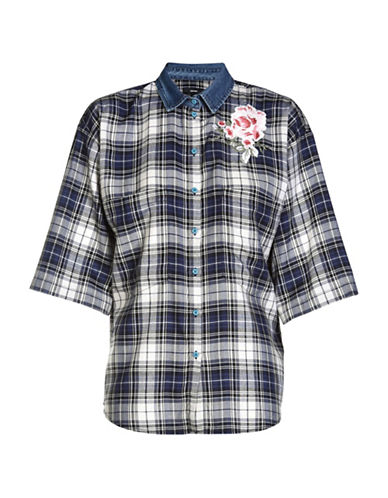 Diesel Lexine Checked Sport Shirt-BLUE-X-Small