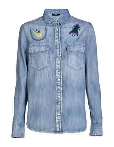 Diesel De-Lilla Cotton Shirt-BLUE-X-Small