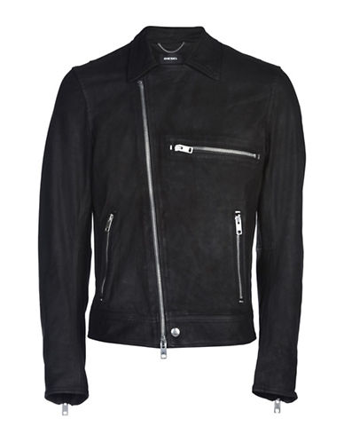 Diesel Hater Zip-It Leather Jacket-BLACK-Large