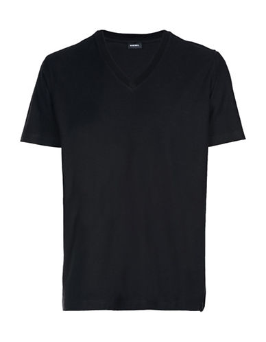 Diesel Rene V-Neck Cotton T-Shirt-BLACK-Medium