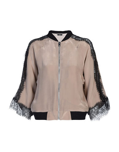 Diesel Lola Lace-Trim Bomber Jacket-BEIGE-Medium
