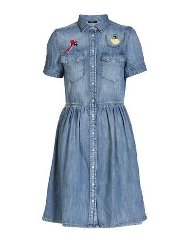 Diesel Keishi Denim Fit-and-Flare Dress-BLUE-Small