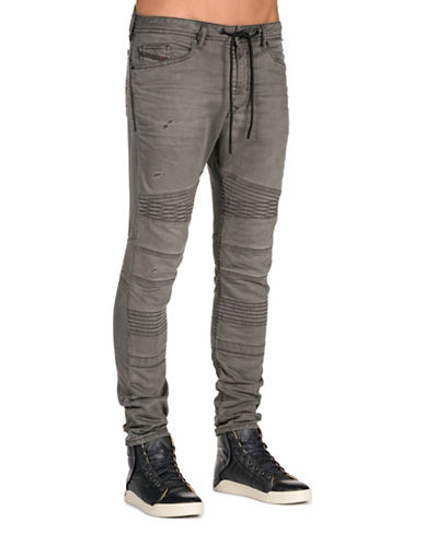 Diesel Bakarine Distressed Sweat Jeans-GREY-36