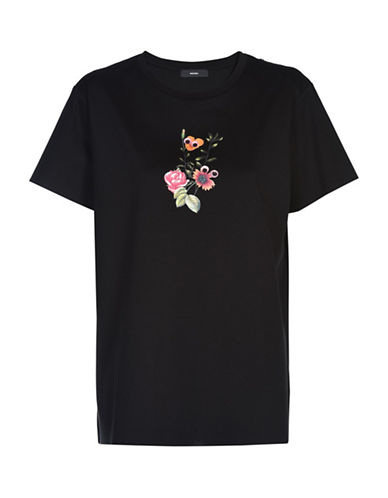 Diesel Ivy Crew Neck Floral Graphic Tee-BLACK-Small