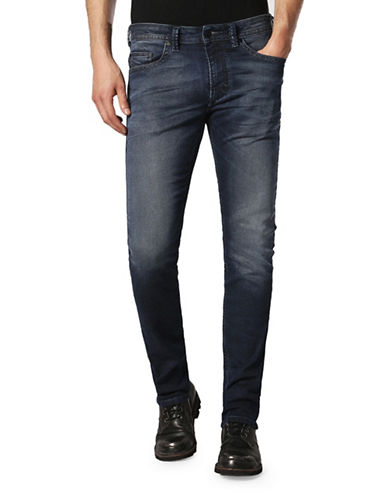 Diesel Thavarne Low Waist Treated Jeans-BLUE-38