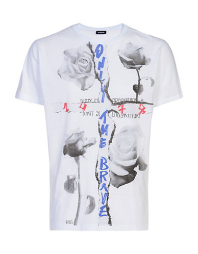 Diesel Rose Graphic Cotton T-Shirt-WHITE-Medium