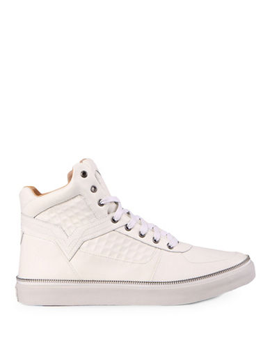 Diesel Spaark Leather High-Top Sneakers-WHITE-10