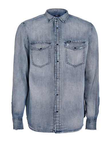 Diesel D-Rooke Denim Sport Shirt-GREY-Medium