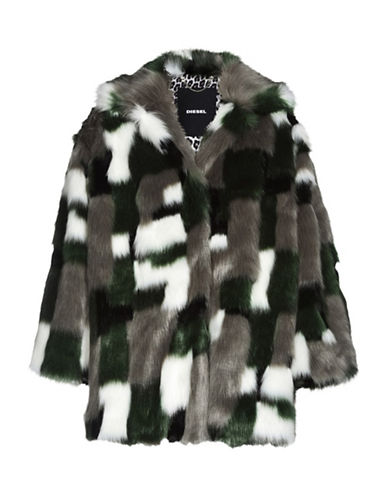 Diesel L-ZEKY Faux Fur Jacket-GREEN-Small