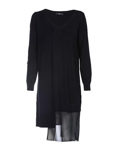 Diesel Asymmetric Chiffon Knit Dress-BLACK-Large